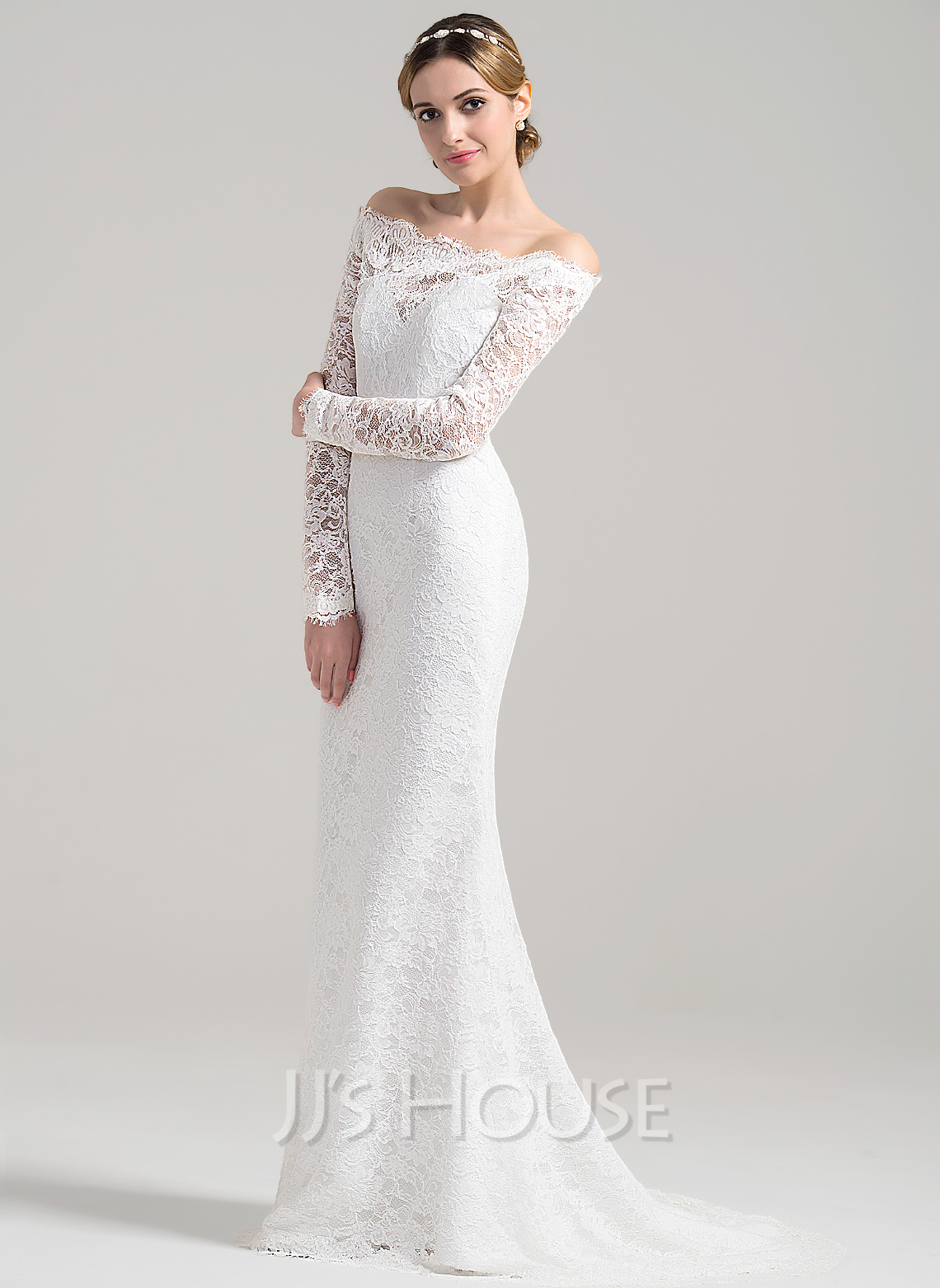 8c16cf2ff3 Sheath Column Off-the-Shoulder Sweep Train Lace Wedding Dress. Loading zoom