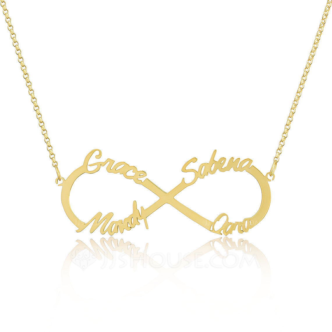 Custom 18k Gold Plated Silver Infinity Four Name Necklace Infinity Name Necklace - Birthday Gifts Mother's Day Gifts