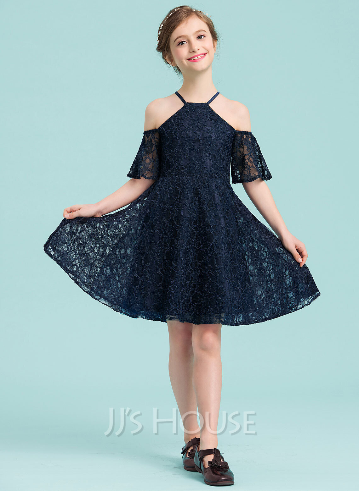A-Line Square Neckline Knee-Length Lace Junior Bridesmaid Dress