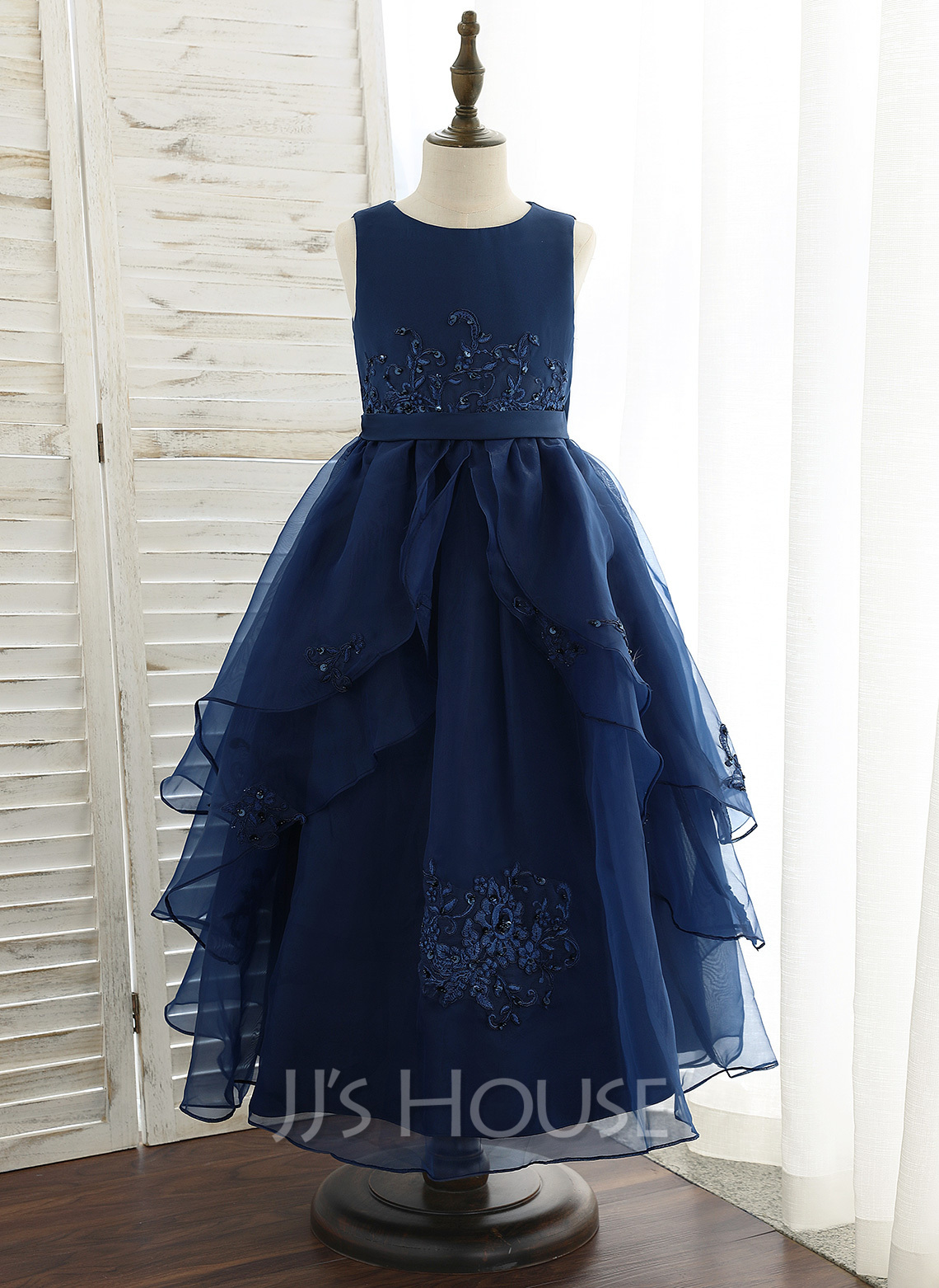 Ankle-length Flower Girl Dress - Organza Satin Lace Sleeveless Scoop Neck With Sequins