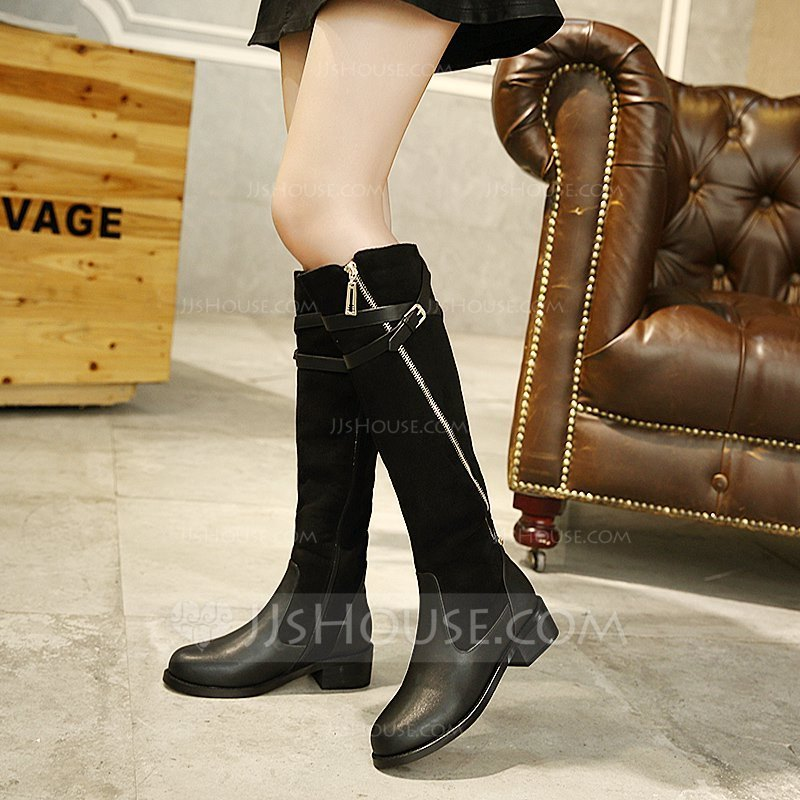 32792bd5f Women s Suede Flat Heel Flats Boots Knee High Boots With Buckle Zipper  Chain shoes. Loading zoom