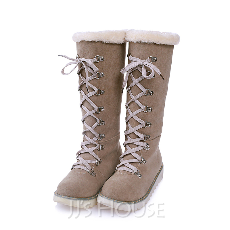 Women's Suede Flat Heel Boots Snow Boots With Lace-up shoes