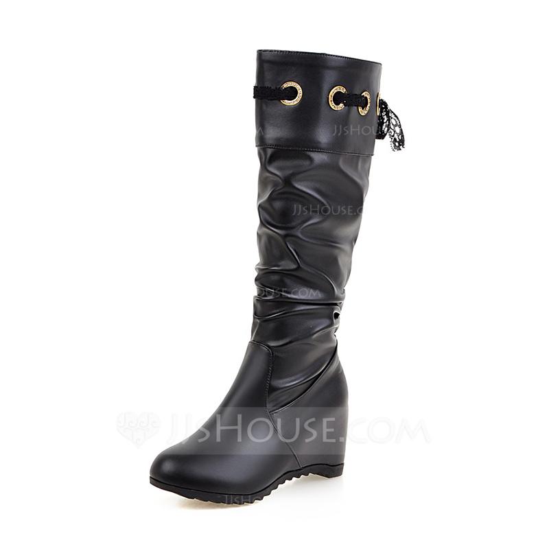 7e55bfd2a94 Kvinnor Konstläder Kilklack Stängt Toe Stövlar Knäkickkängor med Bandage  skor. Loading zoom