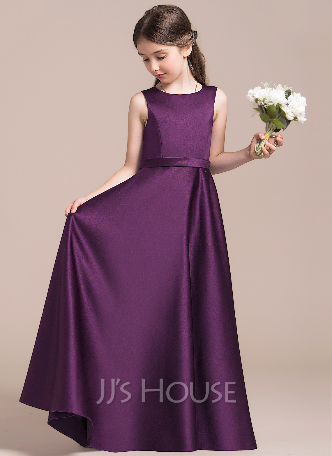 A-Line/Princess Scoop Neck Floor-Length Satin Junior Bridesmaid Dress