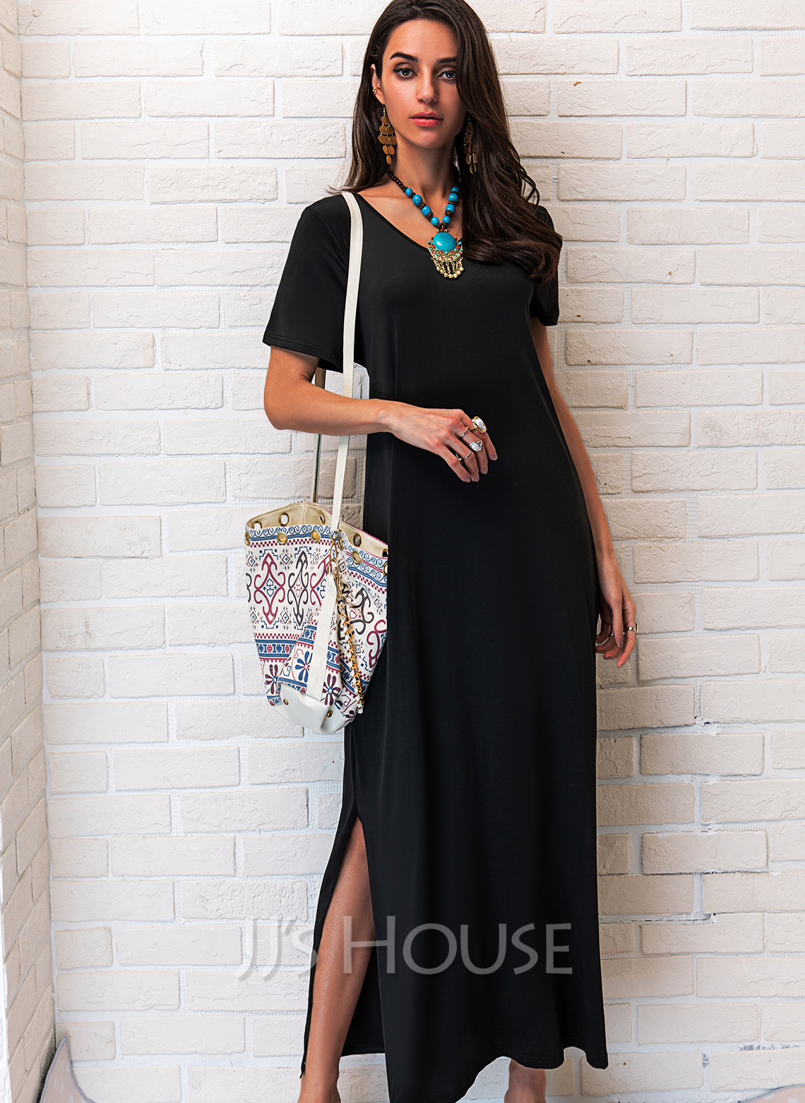 Solid Shift V-Neck Short Sleeves Maxi Casual Little Black Vacation Dresses