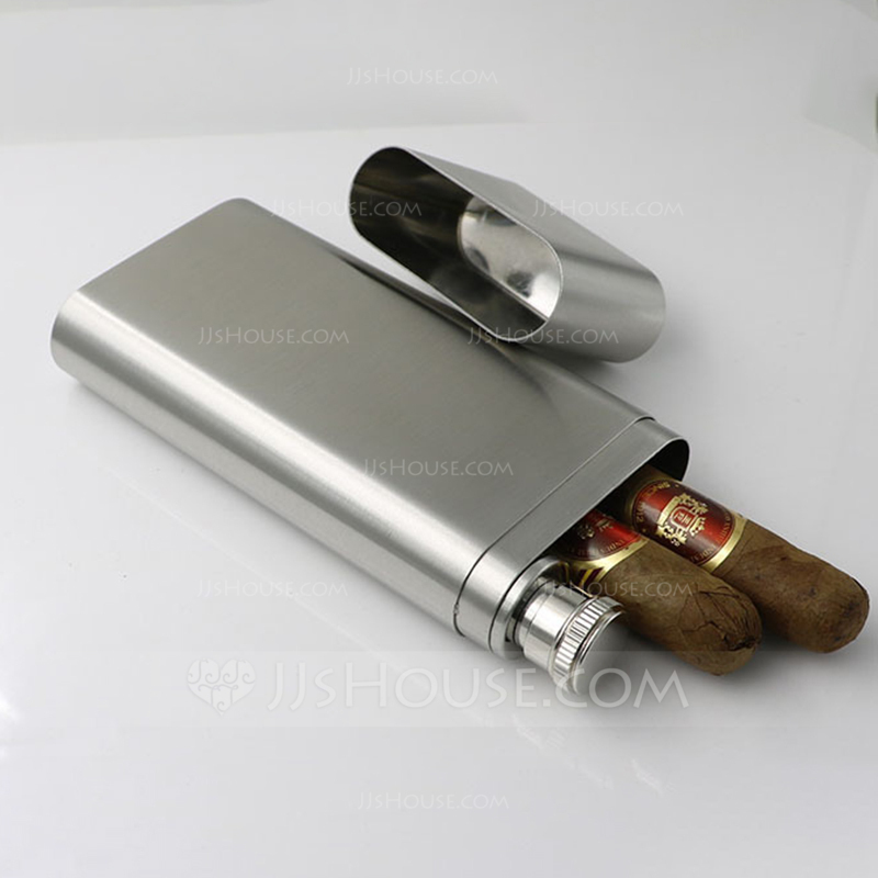 Groom Gifts - Modern Stainless Steel Cigar Case