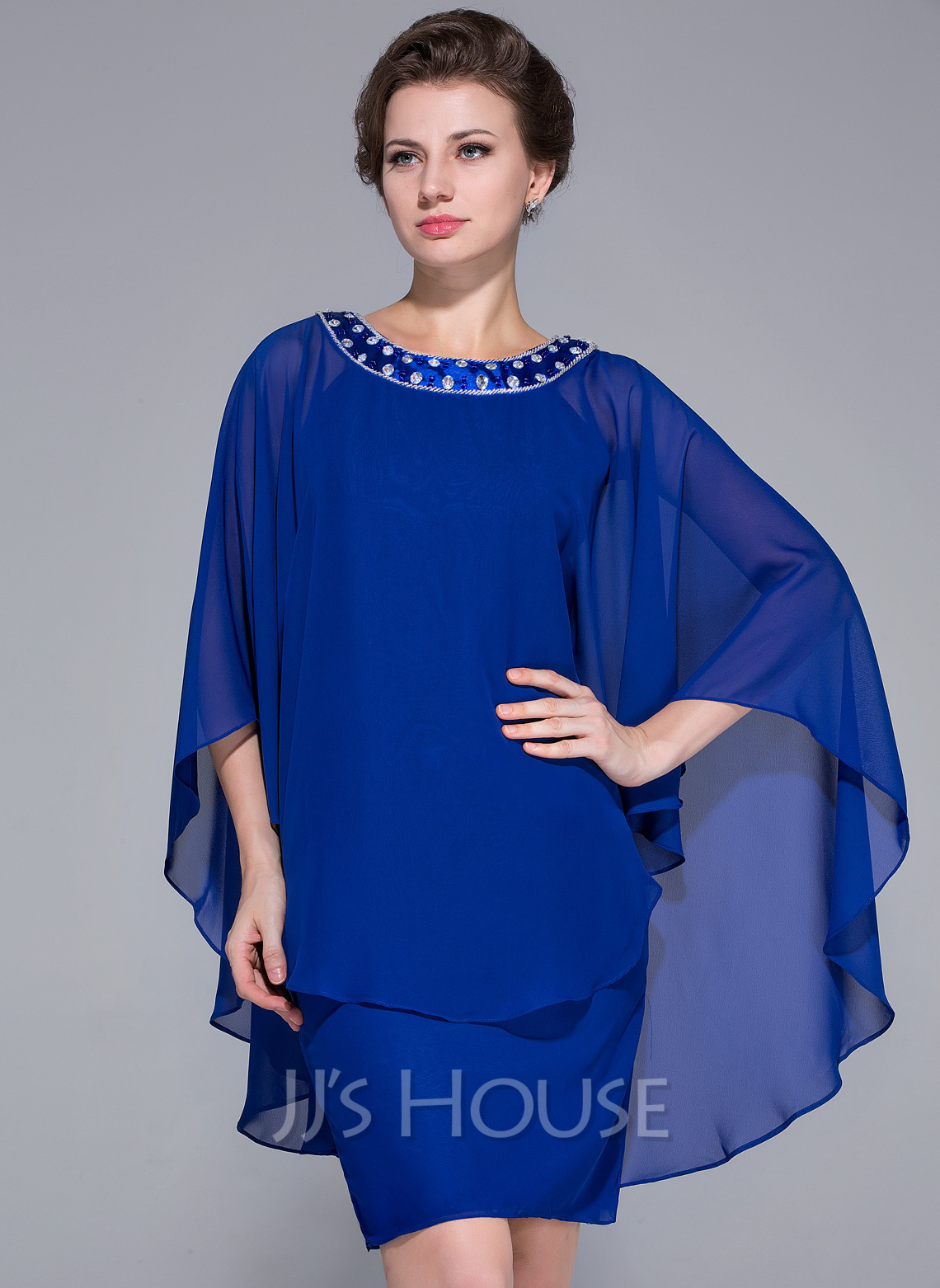 Sheath/Column Scoop Neck Knee-Length Chiffon Mother of the Bride Dress