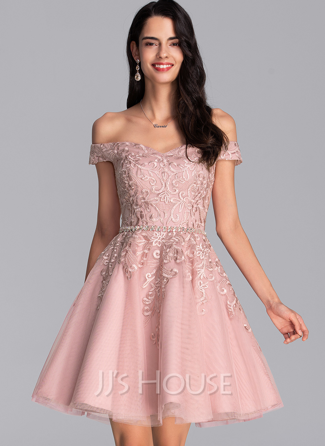 Off-the-Shoulder Short/Mini Tulle Prom Dresses With Beading Sequins