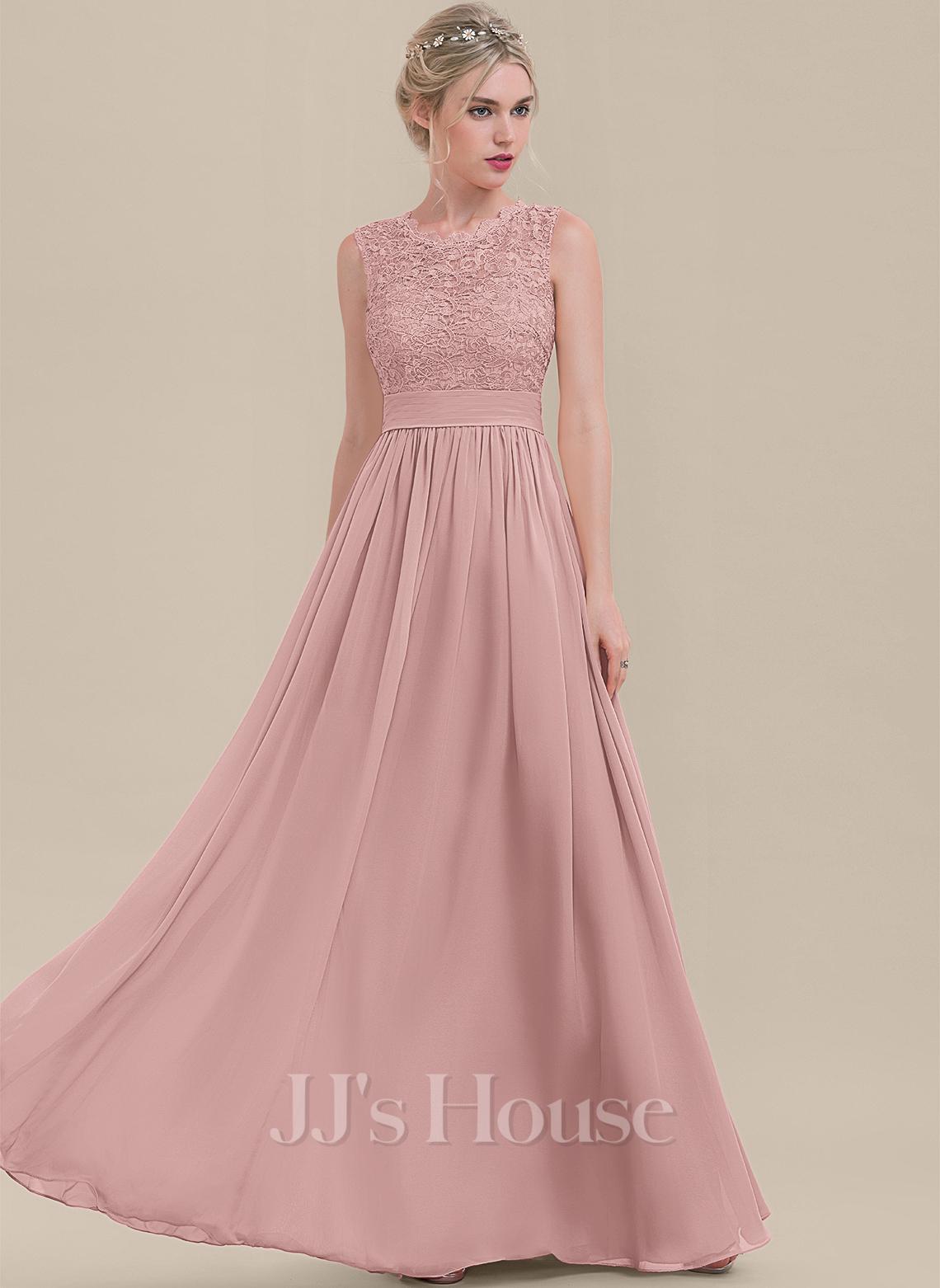 Scoop Neck Floor-Length Chiffon Lace Bridesmaid Dress