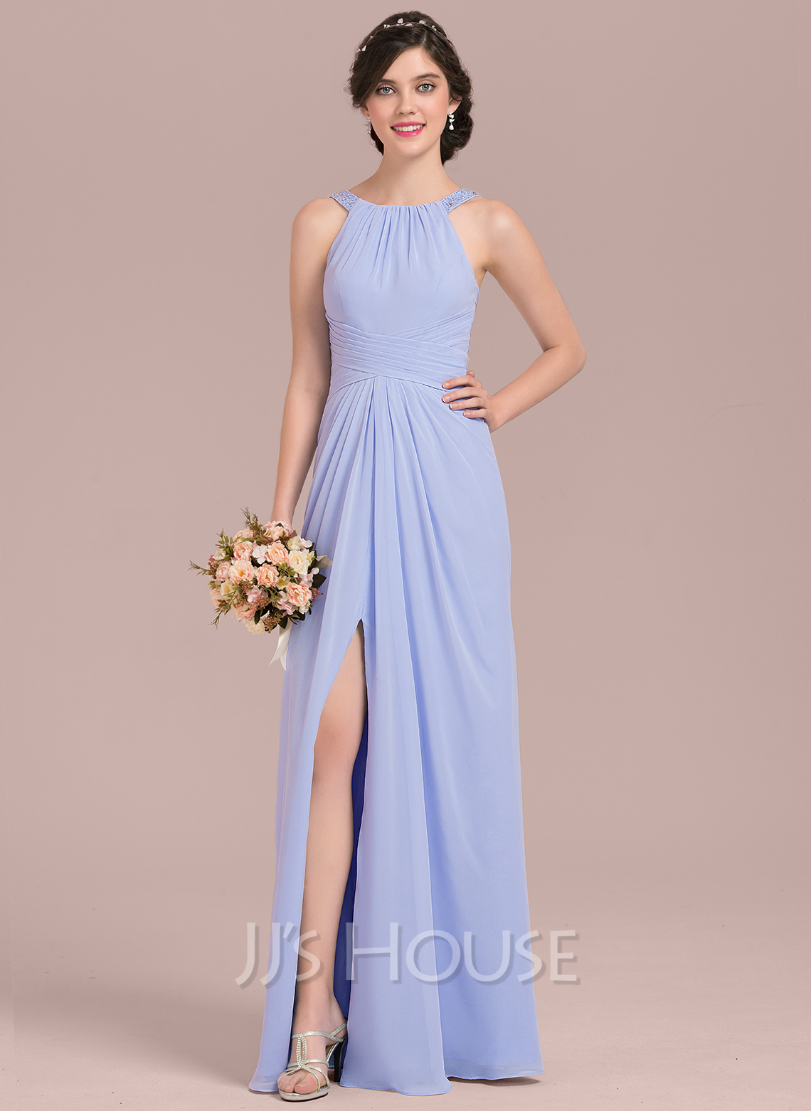 1285820462db6 A-Line/Princess Scoop Neck Floor-Length Chiffon Bridesmaid Dress With  Ruffle Beading Sequins Split Front #126468