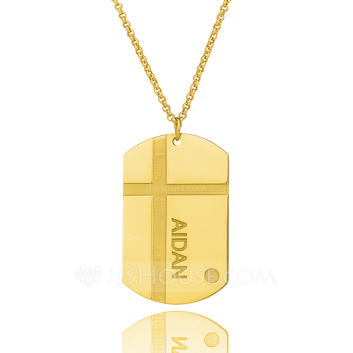 Custom 18k Gold Plated Silver Engraved Necklace Nameplate - Birthday Gifts Mother's Day Gifts