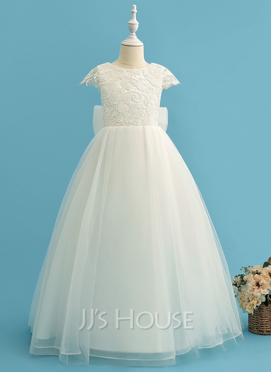 Ball-Gown/Princess Floor-length Flower Girl Dress - Tulle Lace Short Sleeves Scoop Neck With Bow(s)