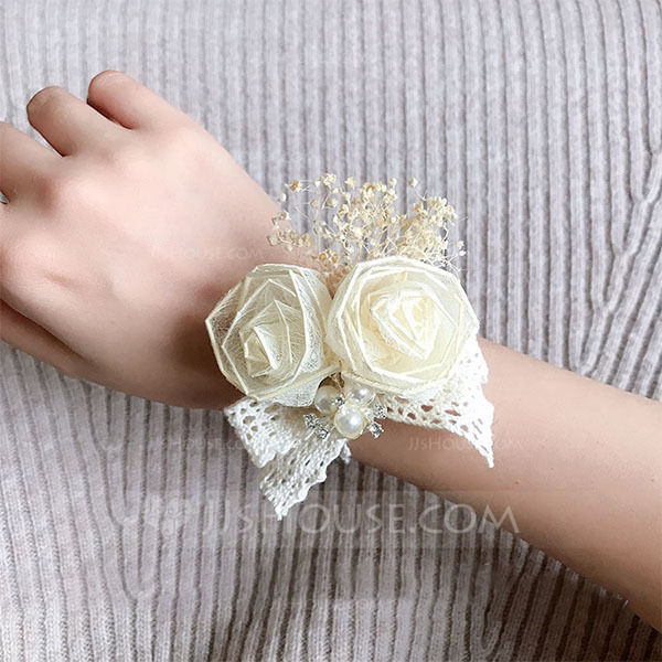 Delicate Hand-tied Lace/Silk Flower Wrist Corsage -
