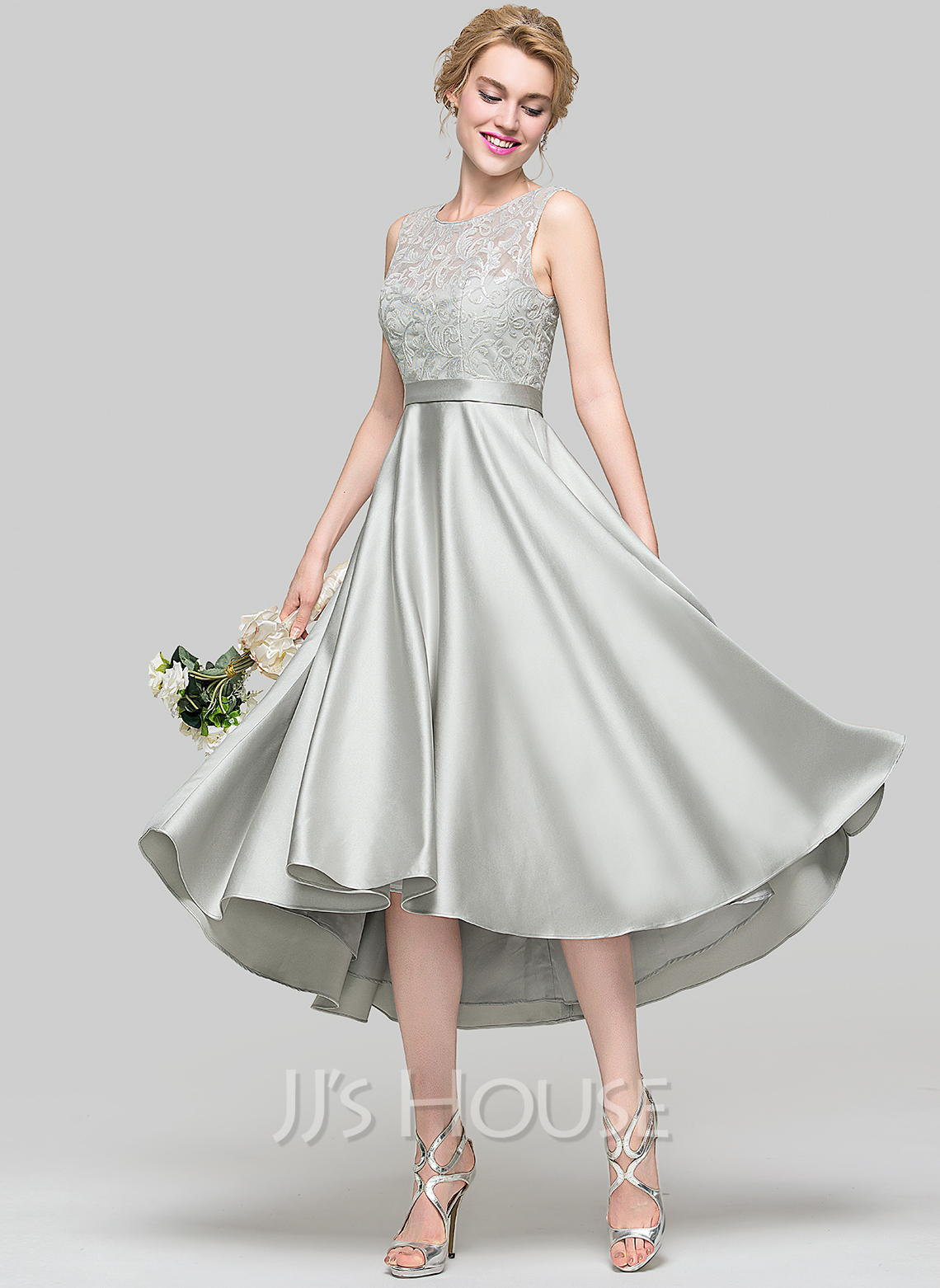 12cc25e53d6 A-Line Princess Scoop Neck Asymmetrical Satin Bridesmaid Dress. Loading zoom
