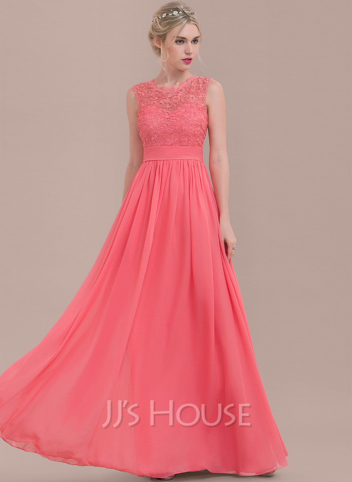 A Line Princess Scoop Neck Floor Length Chiffon Lace Bridesmaid Dress With Ruffle Loading Zoom