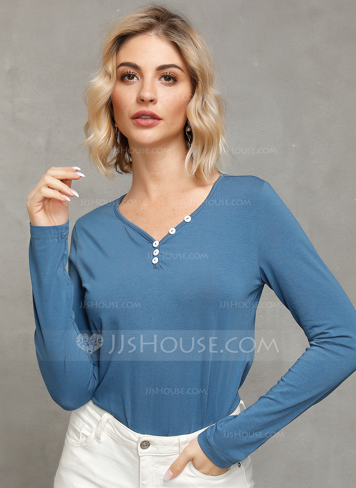 Long Sleeves Cotton Polyester V Neck Knit Blouses