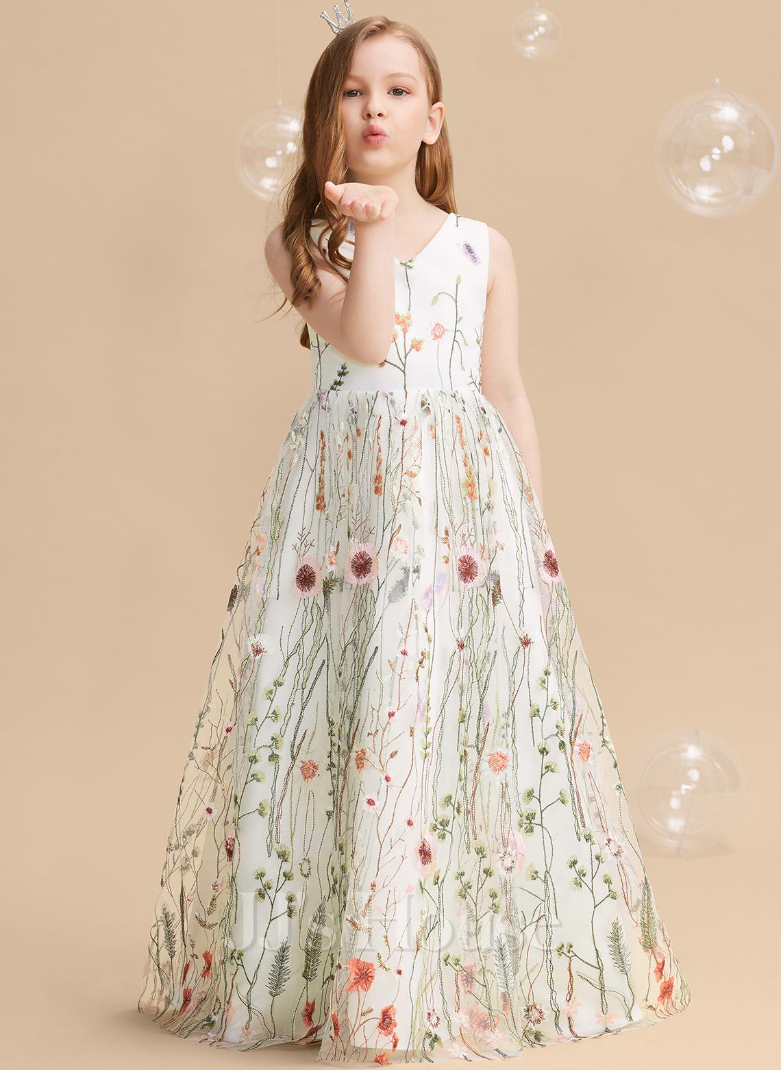 Do Podłogi Sukienka dla Dziewczynki Sypiącej Kwiaty - Żakard Bez Rękawów Litera V Z Kwiat(y) Pałąka (e)
