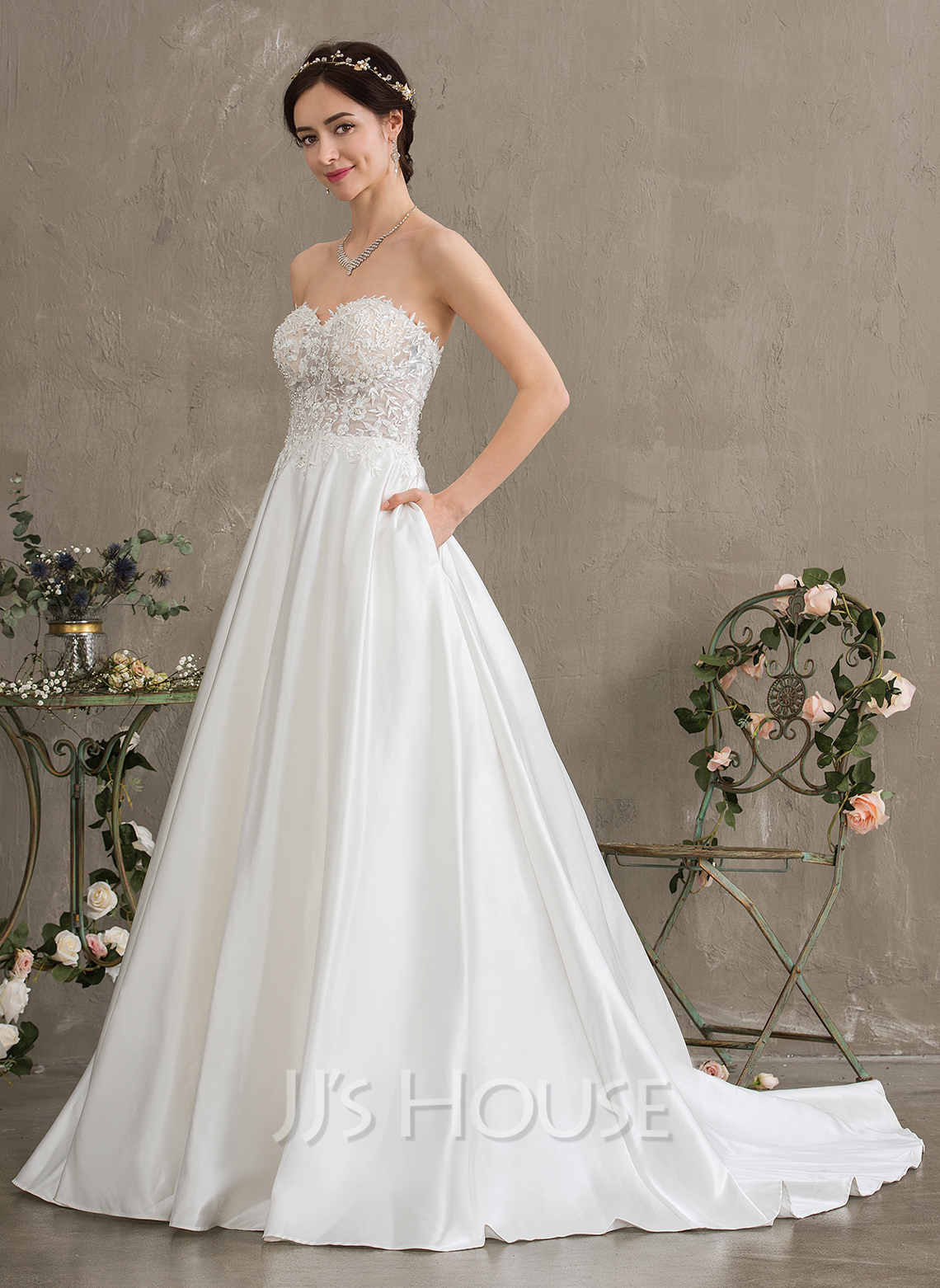 e6ebdd320 Ball-Gown/Princess Sweetheart Court Train Satin Wedding Dress With Beading  Sequins Pockets. Loading zoom