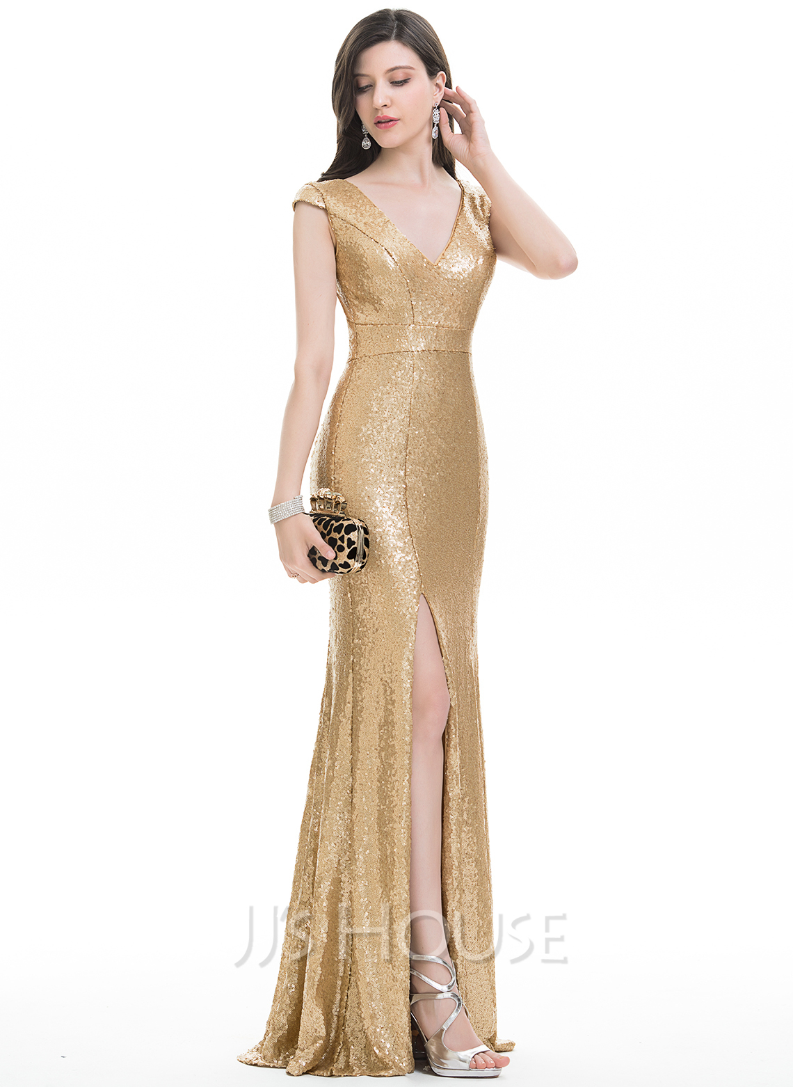 Trumpet/Mermaid V-neck Floor-Length Sequined Evening Dress With Split Front