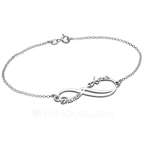 Personalized Ladies' 925 Sterling Silver Name Bracelets For Bridesmaid/For Friends/For Couple