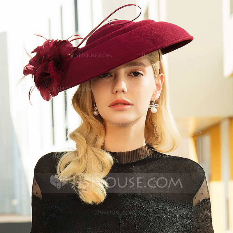 73a75dd5b5f10 Ladies  Beautiful Fashion Elegant Nice Wool With Feather Beret Hats Kentucky.  Loading zoom