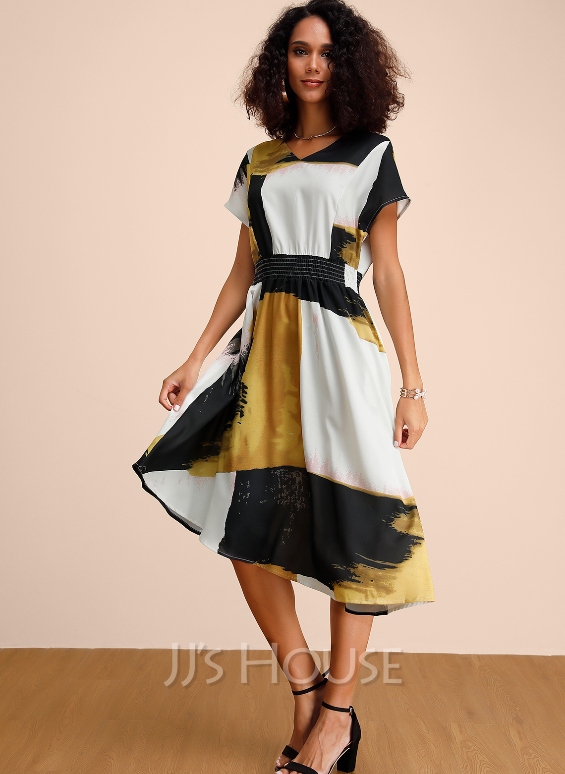 Polyester With Print/Color-block Midi Dress