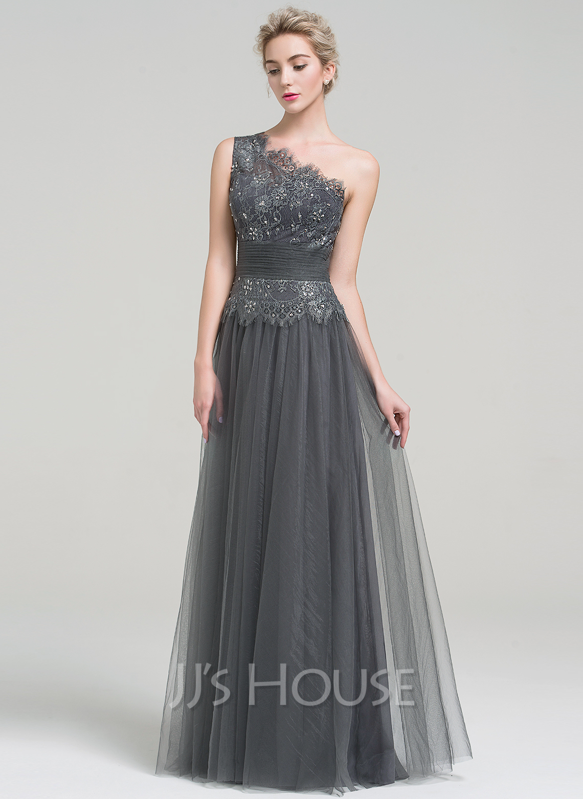 A-Line/Princess One-Shoulder Floor-Length Tulle Evening Dress With Ruffle Beading Sequins