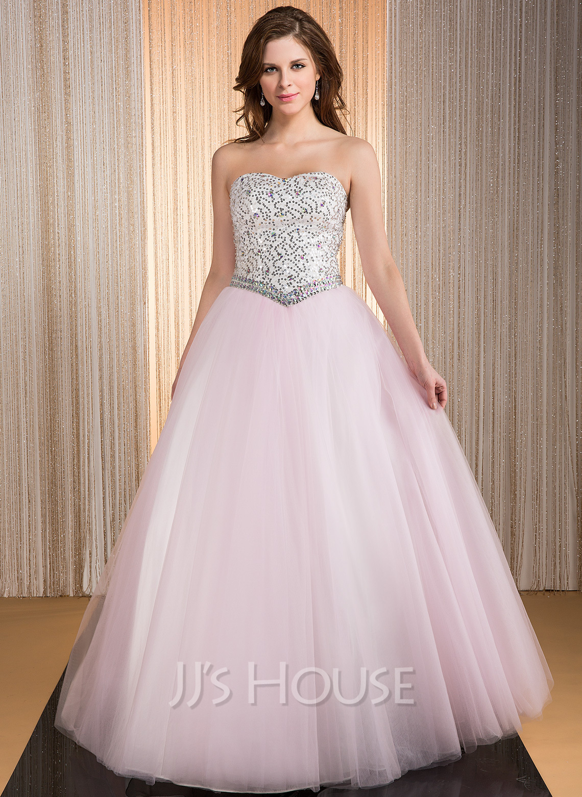 dcdf0dafced1 Ball-Gown Sweetheart Floor-Length Taffeta Tulle Quinceanera Dress With  Beading Sequins. Loading zoom