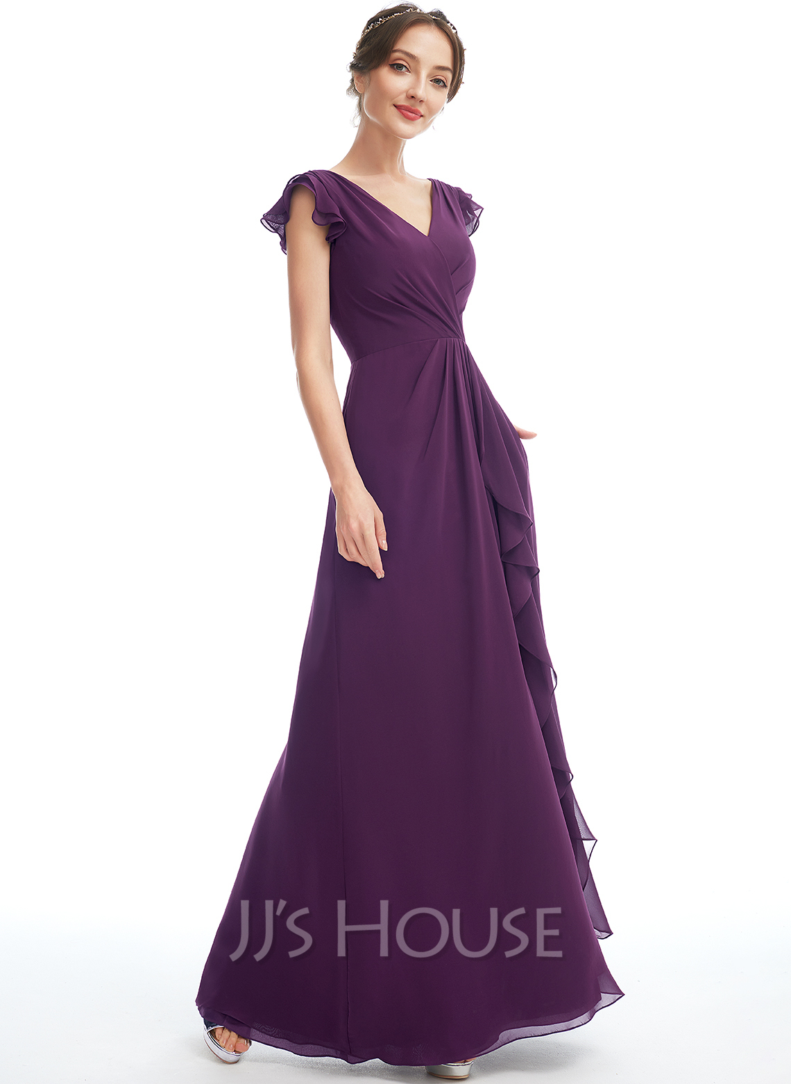 A-Line V-neck Floor-Length Bridesmaid Dress With Ruffle Pockets