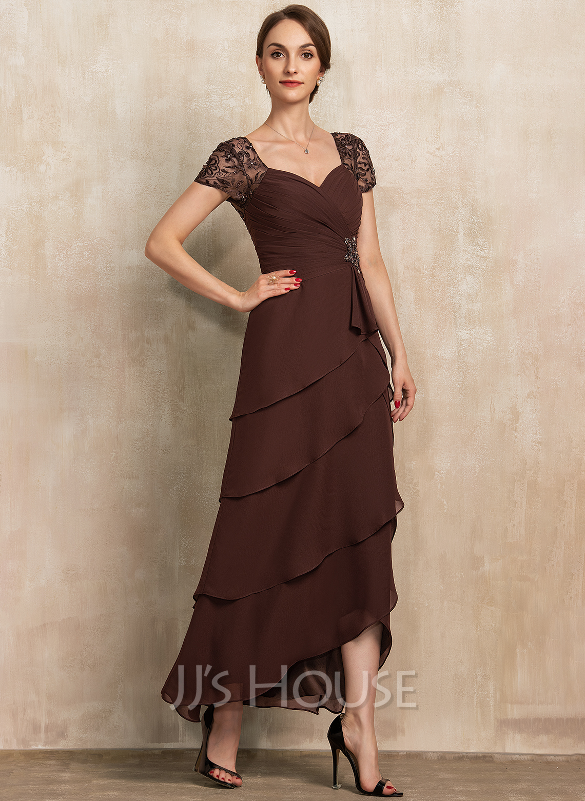 Sweetheart Asymmetrical Chiffon Lace Mother of the Bride Dress With Beading Cascading Ruffles