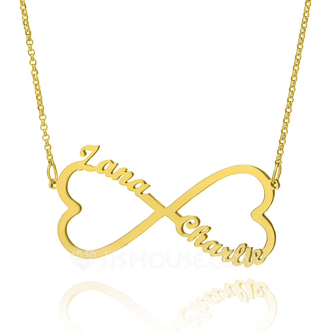 Custom 18k Gold Plated Silver Infinity Two Name Necklace With Heart - Christmas Gifts