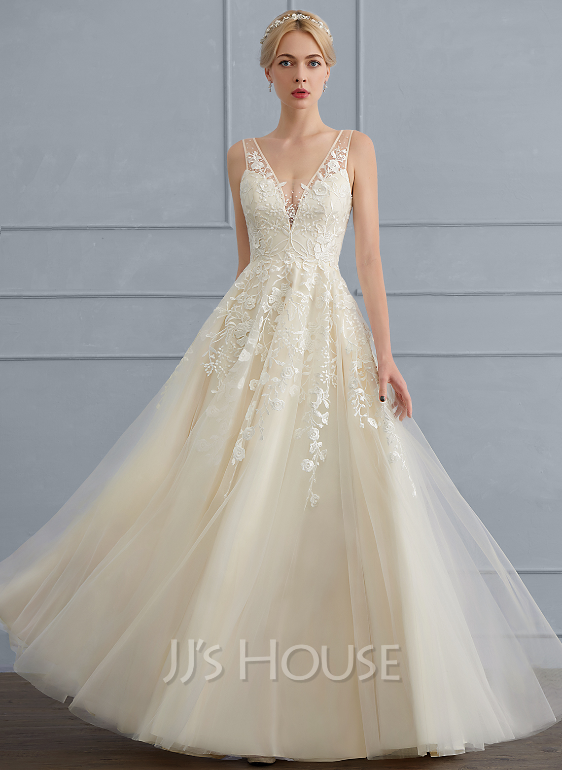 A-Line/Princess V-neck Floor-Length Tulle Wedding Dress With Beading ...