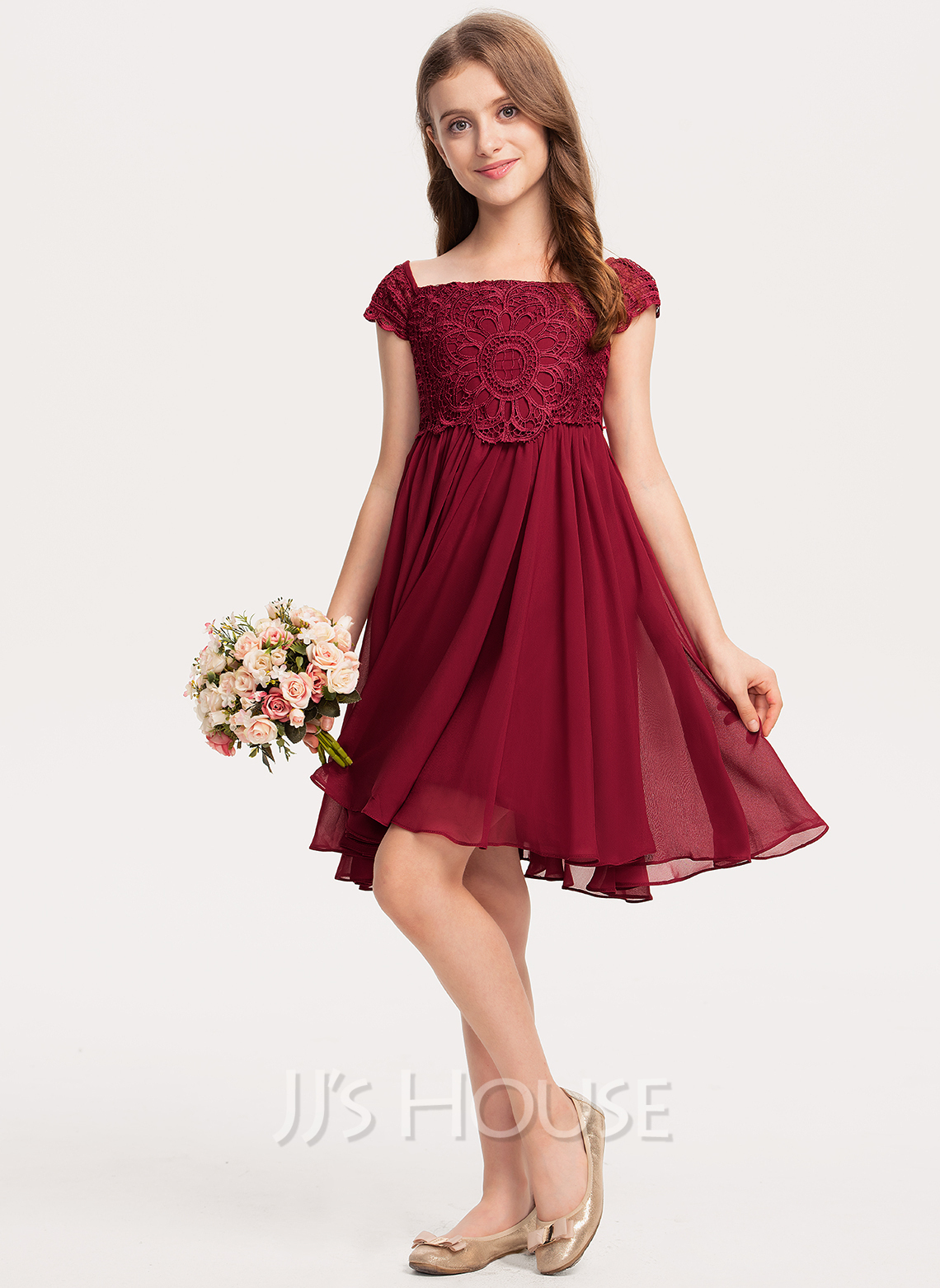 Off-the-Shoulder Knee-Length Chiffon Lace Junior Bridesmaid Dress With Bow(s)