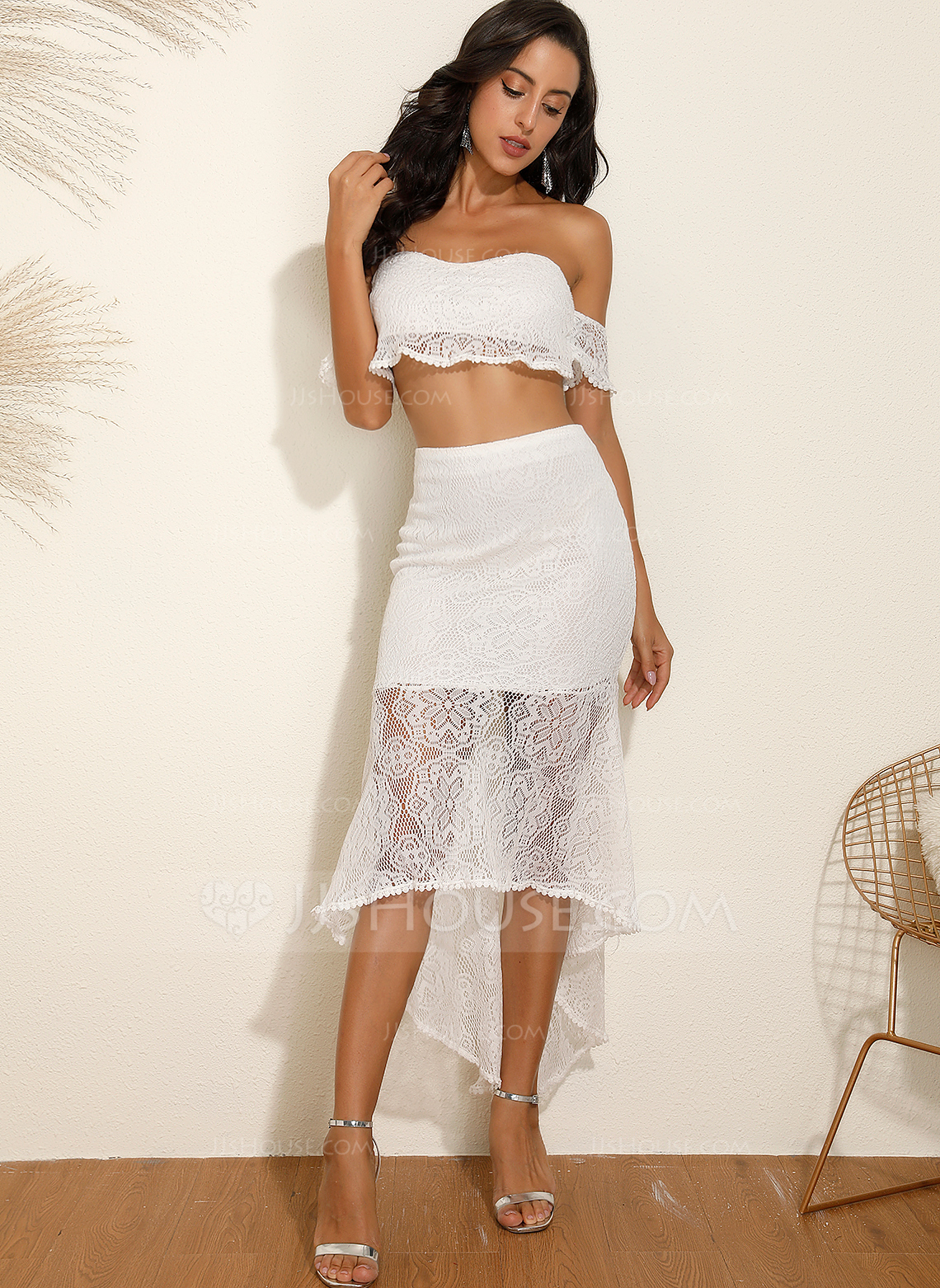 Polyester/Lace With Lace/Solid Asymmetrical Dress (Two Pieces)