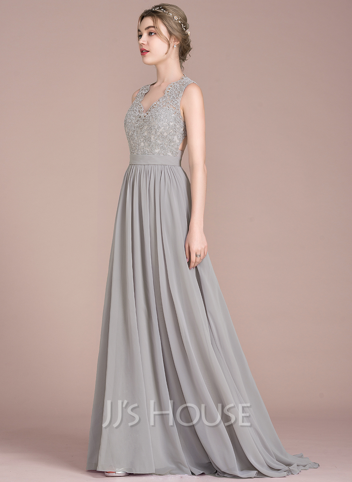 A-Line/Princess V-neck Sweep Train Chiffon Lace Prom Dresses