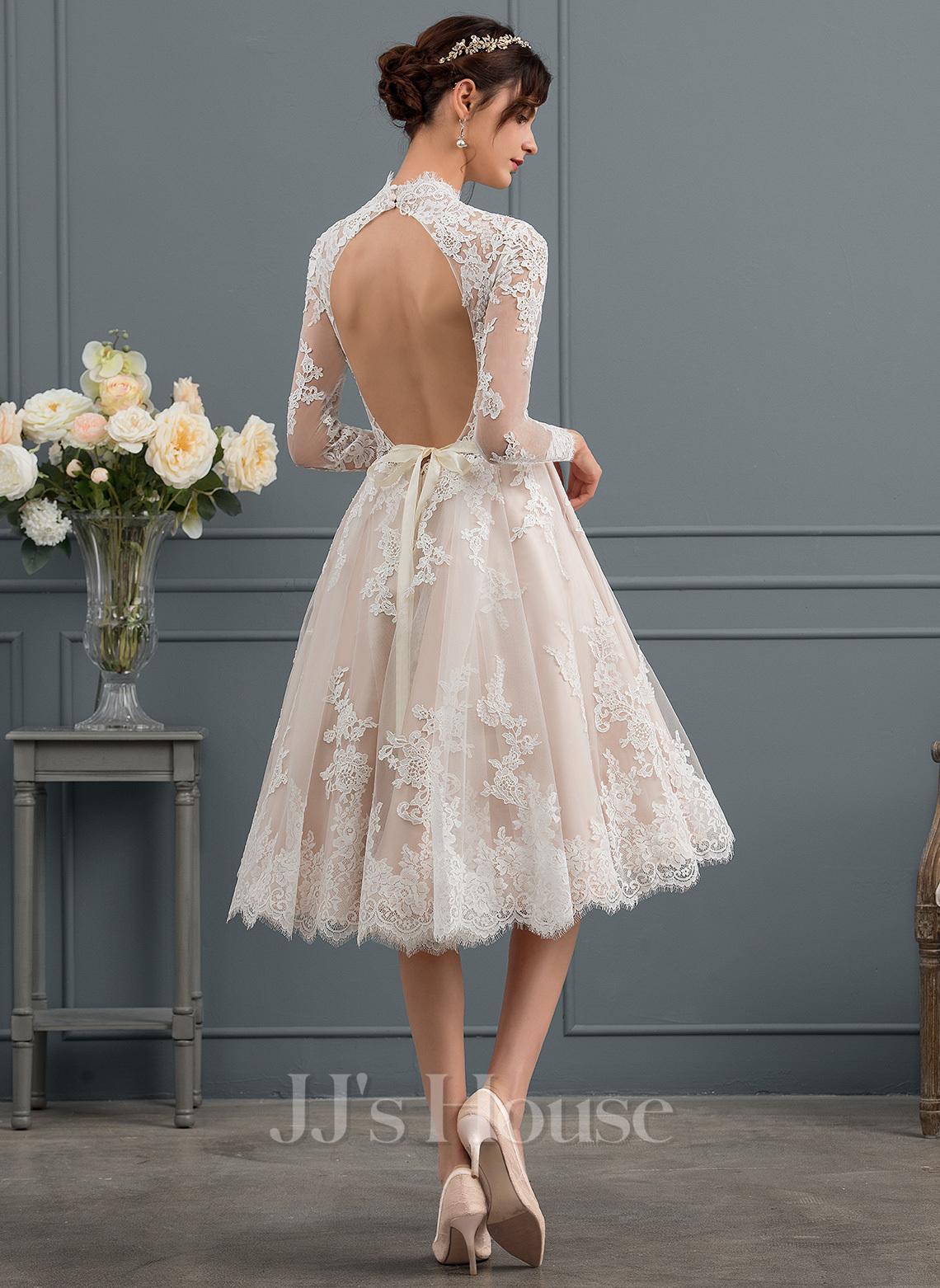 Трапеция Иллюзия Длина до колен Кружева Свадебные Платье