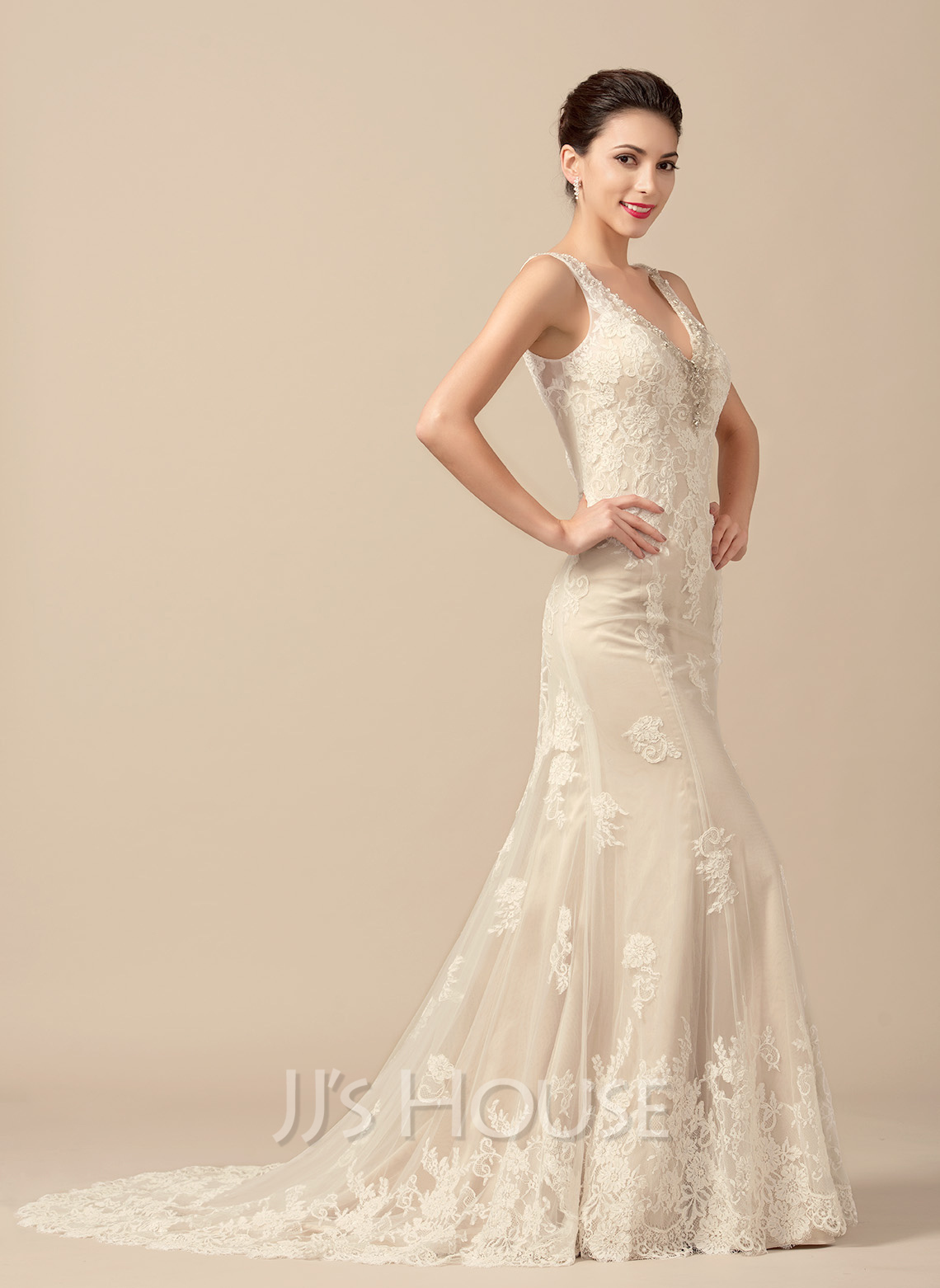 aace8d5b9ebd Trumpet/Mermaid V-neck Sweep Train Tulle Wedding Dress With Beading. Loading  zoom