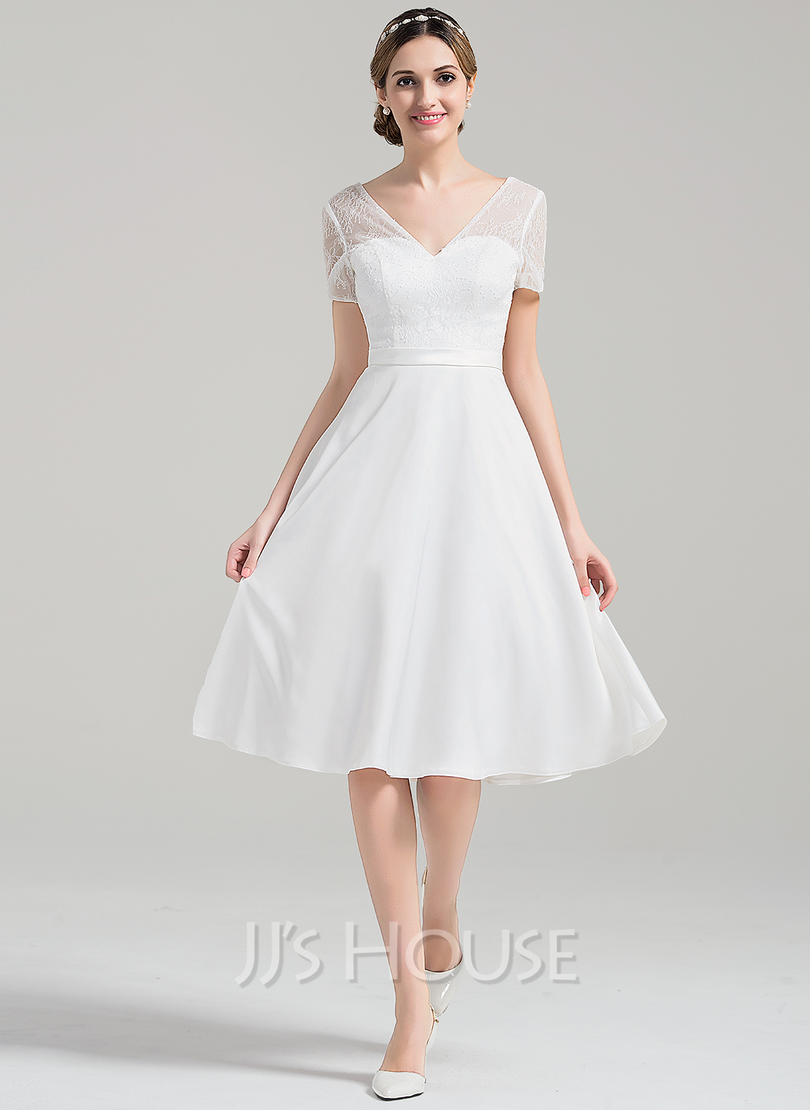 V-neck Knee-Length Satin Wedding Dress With Sequins