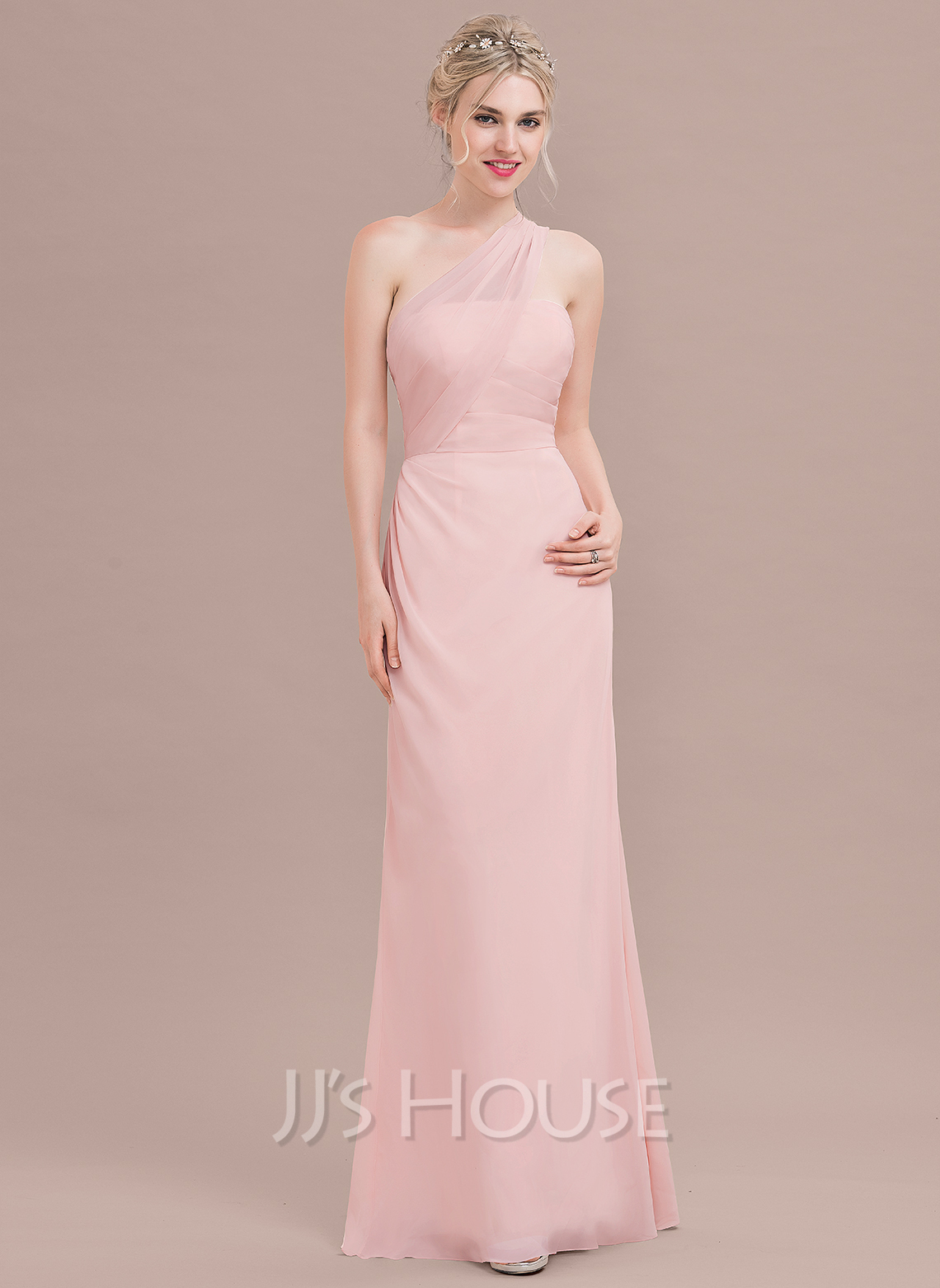 80601f551aec A-Line/Princess One-Shoulder Floor-Length Chiffon Bridesmaid Dress With  Ruffle. Loading zoom