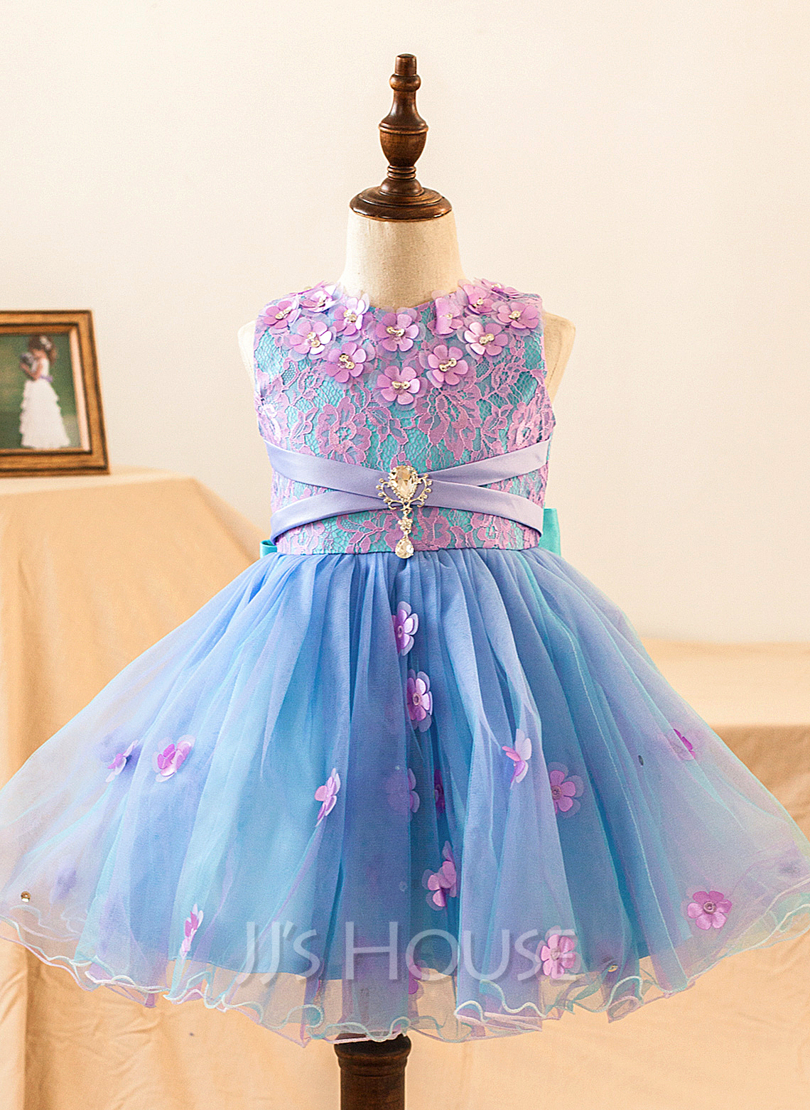 A-Line Knee-length Flower Girl Dress - Satin Sleeveless Scoop Neck With Flower(s)/Bow(s)