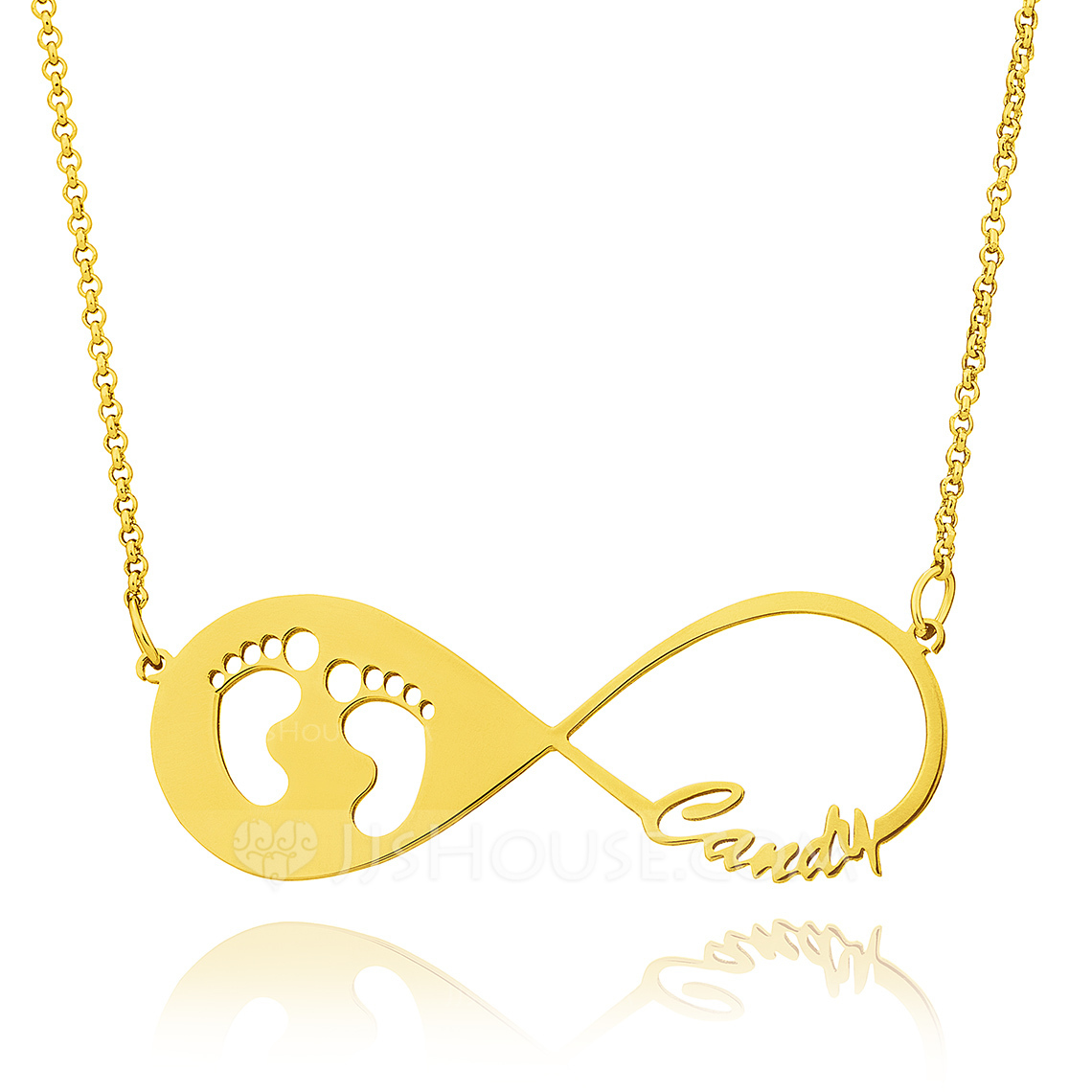 Custom 18k Gold Plated Silver Baby Footprint Infinity Necklace Infinity Name Necklace With Kids Names - Christmas Gifts
