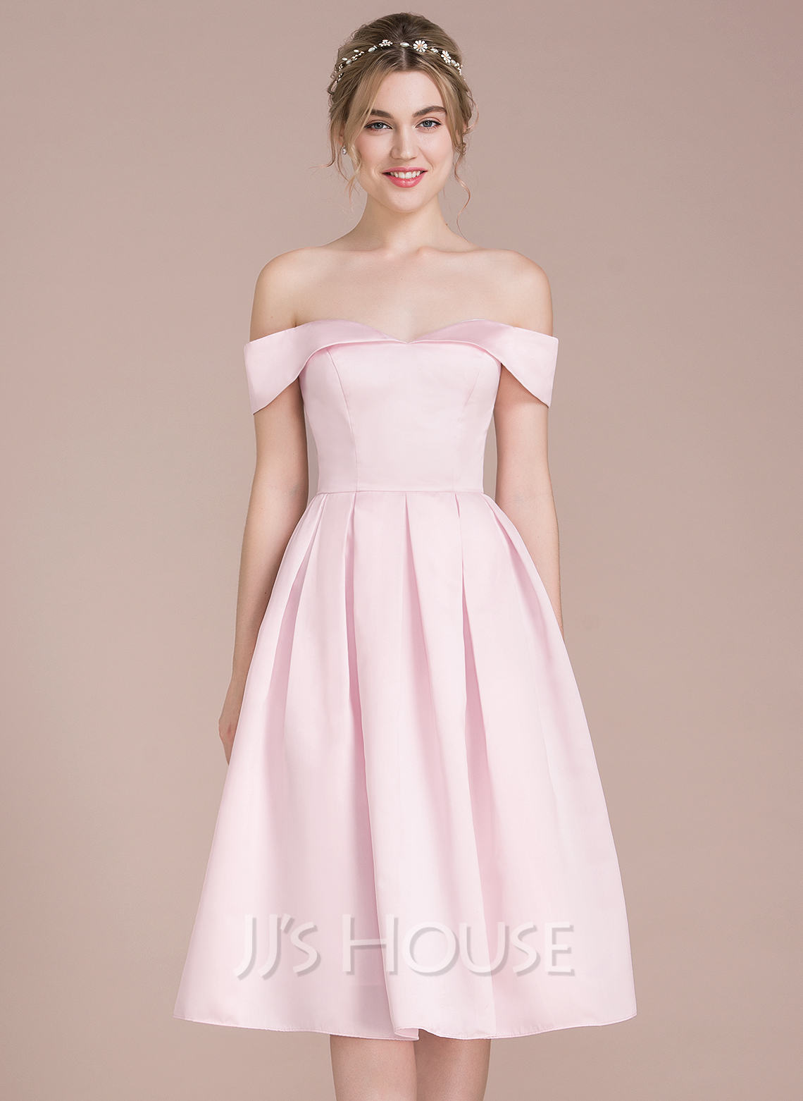 A line princess off the shoulder knee length satin for Mid length wedding dress