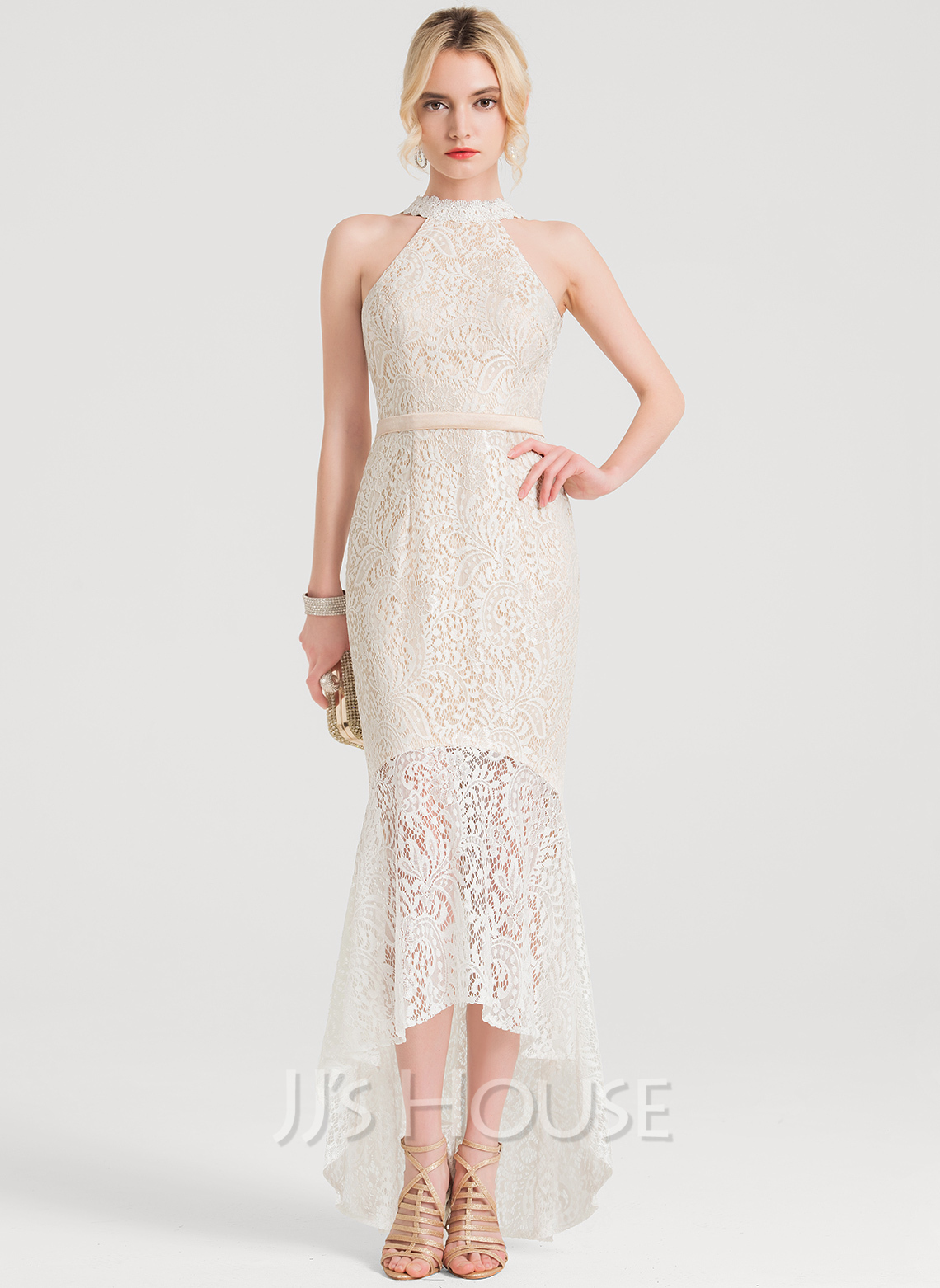 Trumpet/Mermaid Scoop Neck Asymmetrical Lace Cocktail Dress