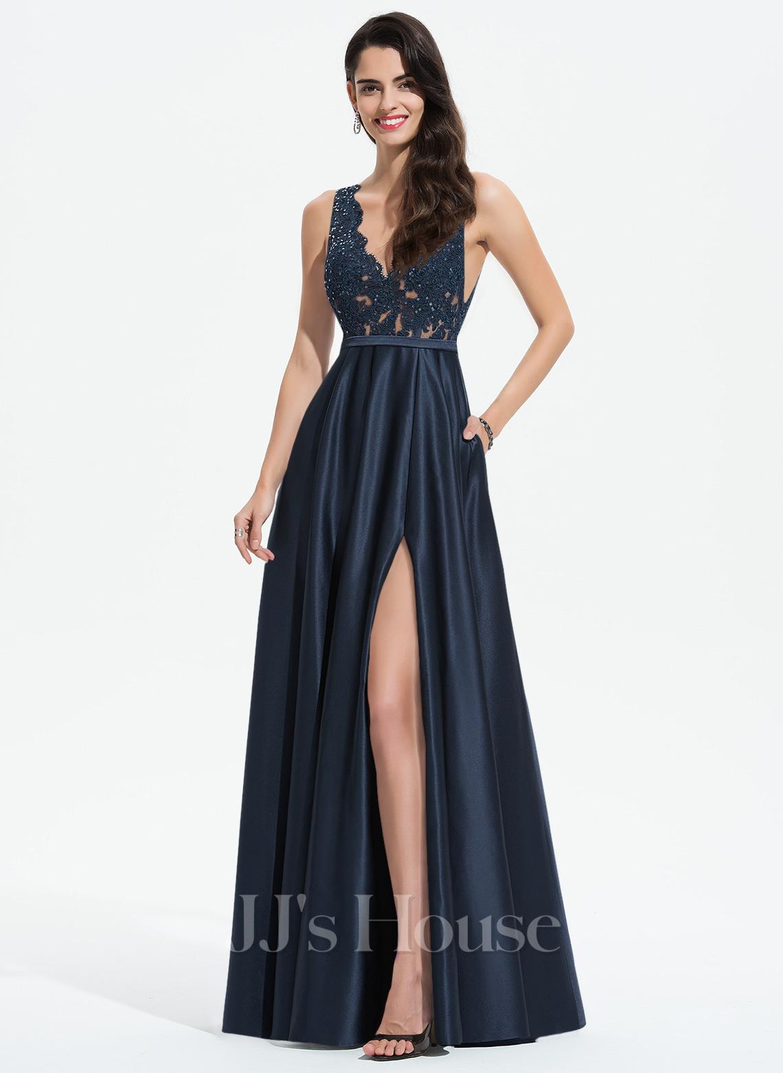 A-Line V-neck Floor-Length Satin Evening Dress With Lace Sequins Split Front Pockets