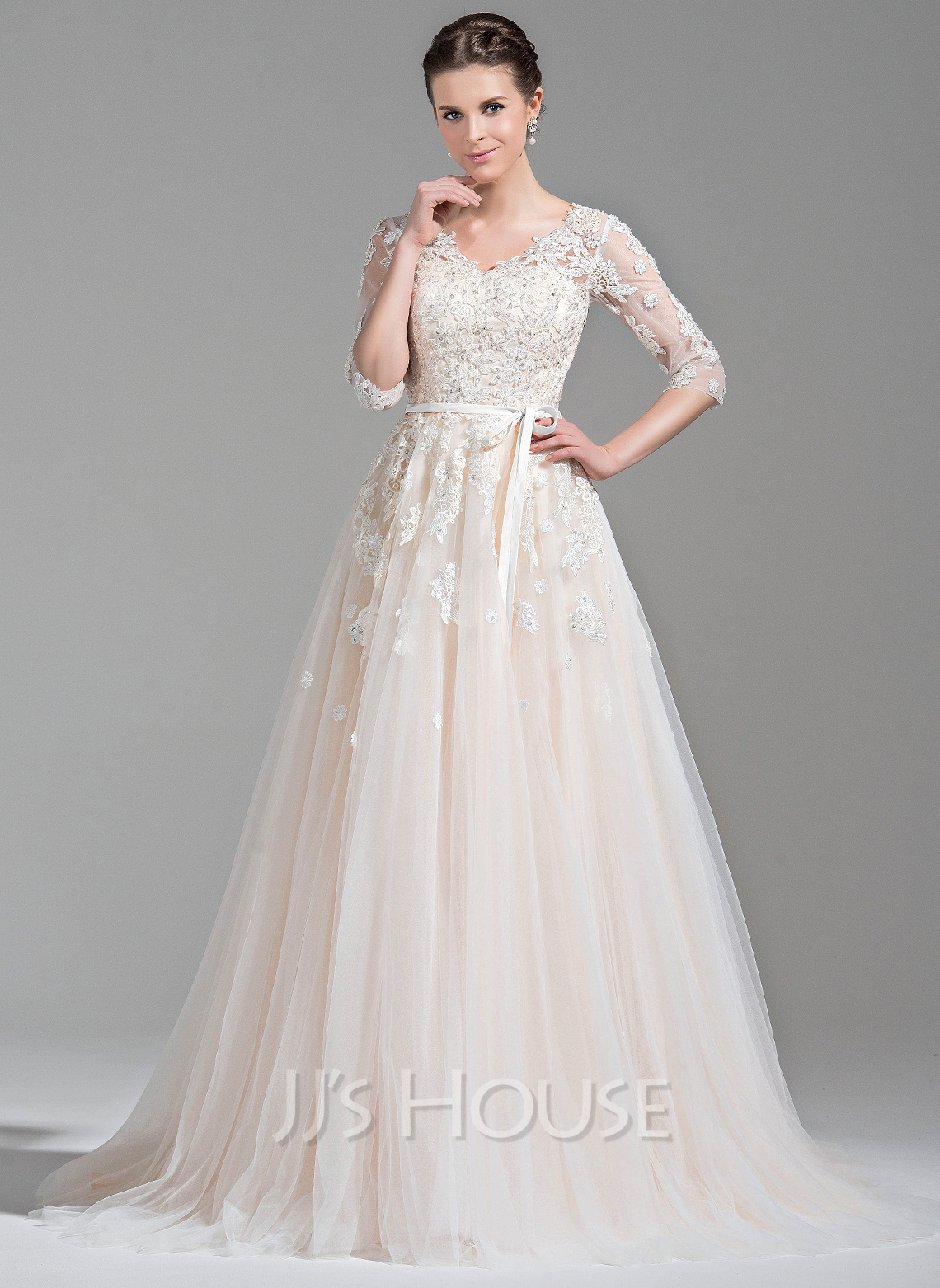 5726ba280d76 Ball-Gown V-neck Court Train Tulle Wedding Dress With Beading Appliques  Lace Sequins. Loading zoom