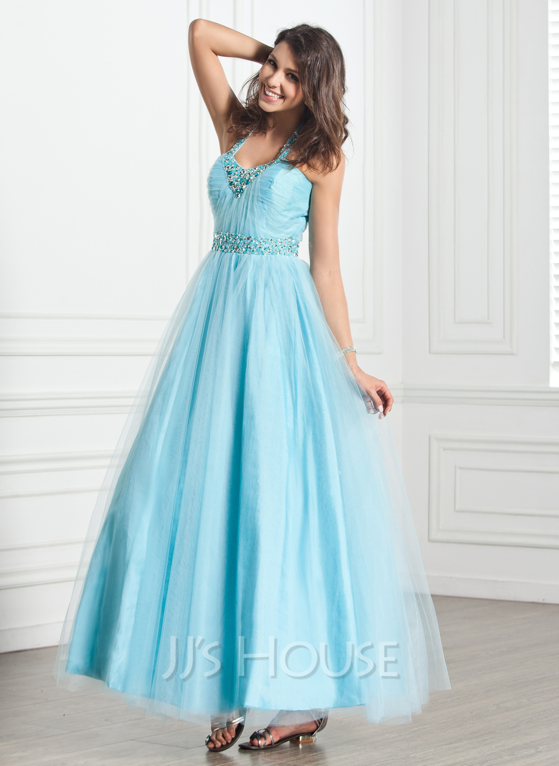 A-Line/Princess Halter Ankle-Length Tulle Holiday Dress With Ruffle Beading