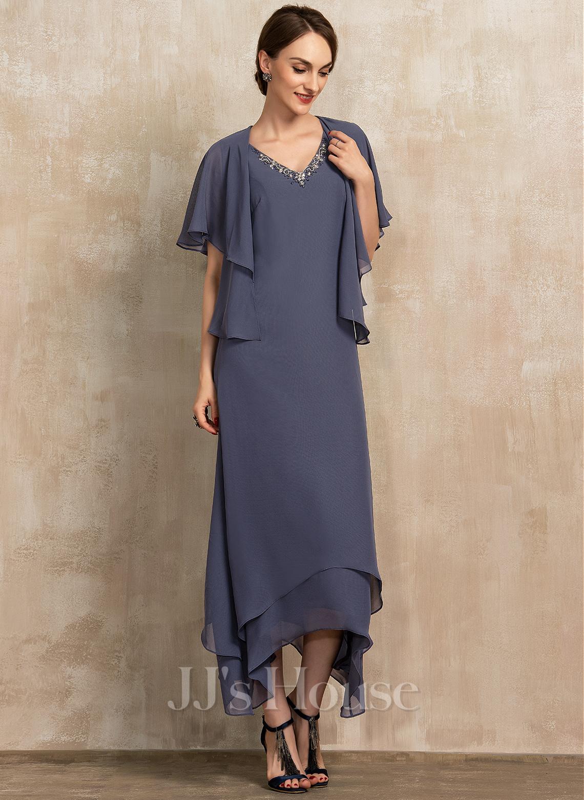 V-Ausschnitt Knöchellang Chiffon Kleid für die Brautmutter mit Perlstickerei