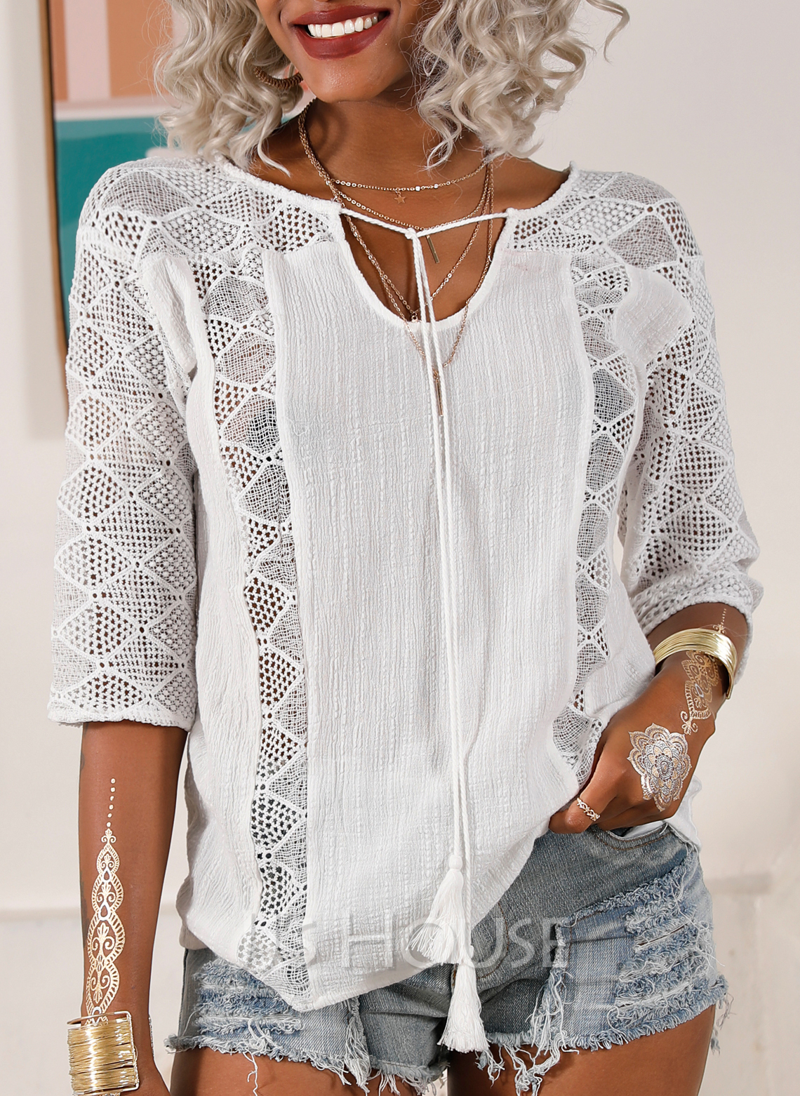 3/4 Sleeves Polyester V Neck Blouses