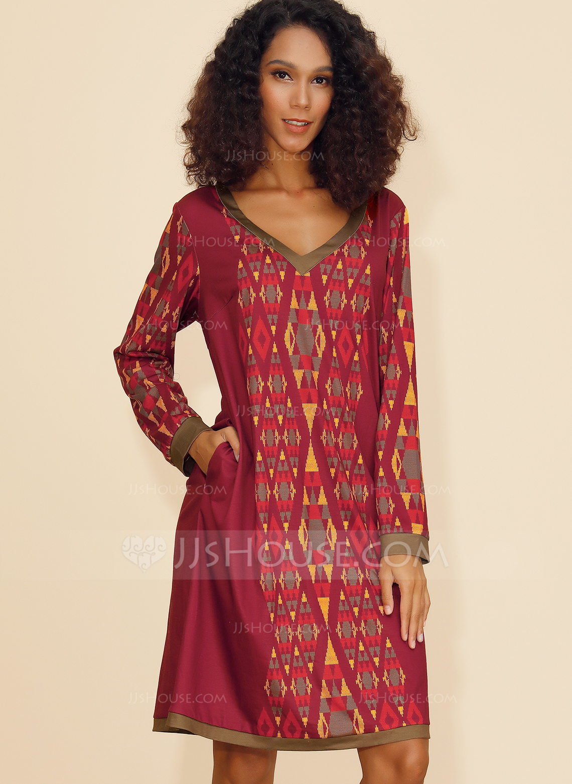 Polyester With Print/Knitting Knee Length Dress
