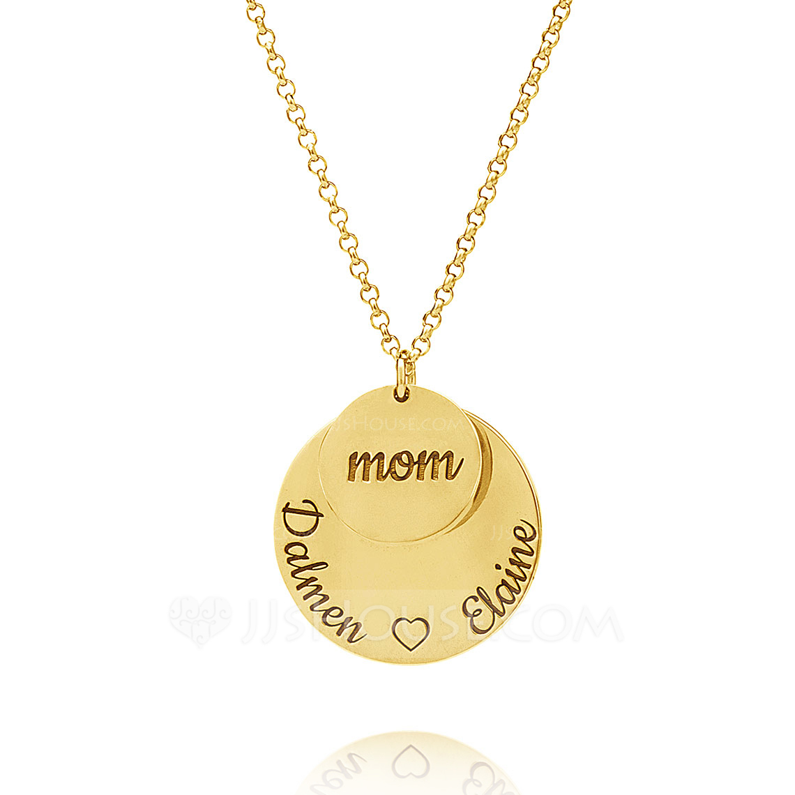 Custom 18k Gold Plated Engraving/Engraved Circle Layered Three Circle Necklace With Kids Names - Birthday Gifts Mother's Day Gifts